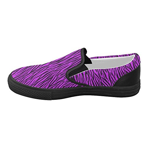 D-Story Custom Purple Zebra Stripes Womens Slip on Canvas Shoes (Model 019) YB4YbZXG
