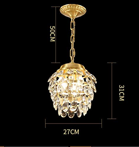 BOSSLV Crystal Clear Pendent Lamp Modern Round Brass Hanging Lighting Parlor Ceiling Lighting Elegant Hall Corridor Dining Hall Studi Adjustable Height Decorative Chandelier 27CmH31Cm-3E14 ()