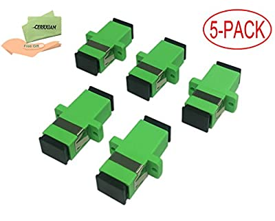 Cerrxian SC Singlemode Fiber Optic Adapter SC Female to SC Female APC Simplex Single Mode Fiber Optical Coupler Connector Adapter with Mount Panel (Green 5-Pack)