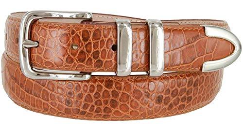 Genuine Italian Calfskin Alligator Embossed Leather Belt 1-1/4