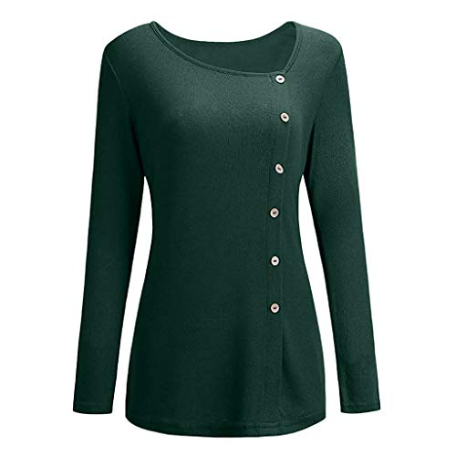 Con Maniche Verde Donna Cime Camicie Patchwork Per Orlo Eleganti Scollo Largo Irregolare Lunghe Maglietta Casual In Banaa A Camicetta Rotondo Magliette Bottoni Blusa F6qx7qwB