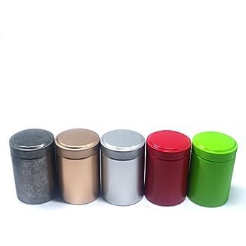 Terya Tea Tin Tea caddy Storage box -Set of 5(Silvery u0026 Gray u0026 Golden u0026 Red u0026 Green)  sc 1 st  Amazon.com & Amazon.com - Wide Twist Top Tea Tin (2 Cup / 16oz) - Set of 3 - Food ...