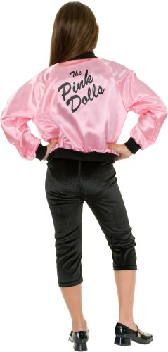 Pink Ladies Kids Costumes (Pink Satin Ladies Jacket Child Costume Small)