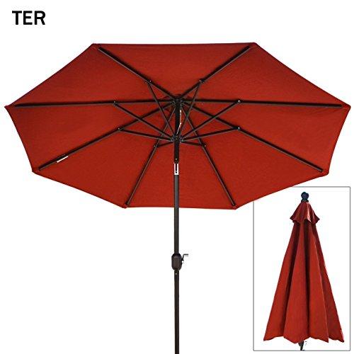 Strong Camel 9 Ft Outdoor Table Aluminum Patio Umbrella with Auto Tilt and Crank, With Sunbrella Cover , Alu. 8 Ribs- Terrecotta Color