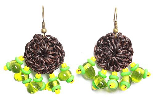 [Bijoux de Ja Handmade Green Glass Beads Crochet Drop Dangling Earrings] (Homemade Elephant Costume Ears)