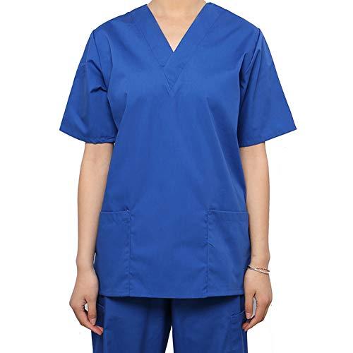 MEDICLE SCRUBS Scrub Tops Nurse Uniforms Women Men Unisex V-Neck Medical Uniform Side Vents with 2 Bottom - Scrub V-neck 2 Pocket Top