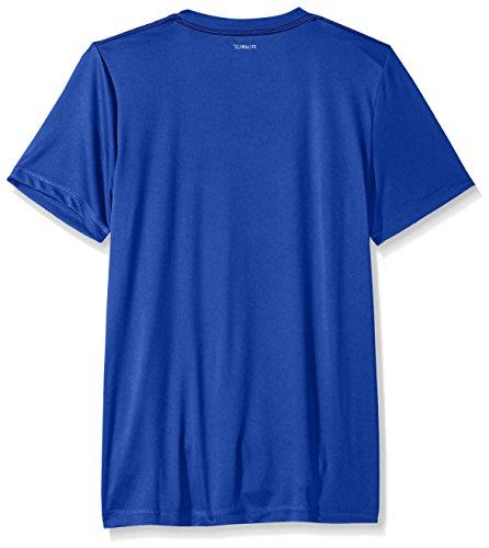 Large Product Image of Adidas Boys' Big Short Sleeve Logo Tee Shirt, Hi-res Blue, X-Large