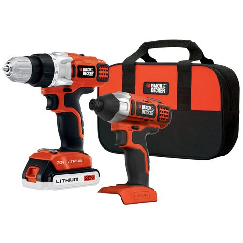(BLACK+DECKER BDCD220IA-1 20-volt Max Drill/Driver and Impact Driver with)