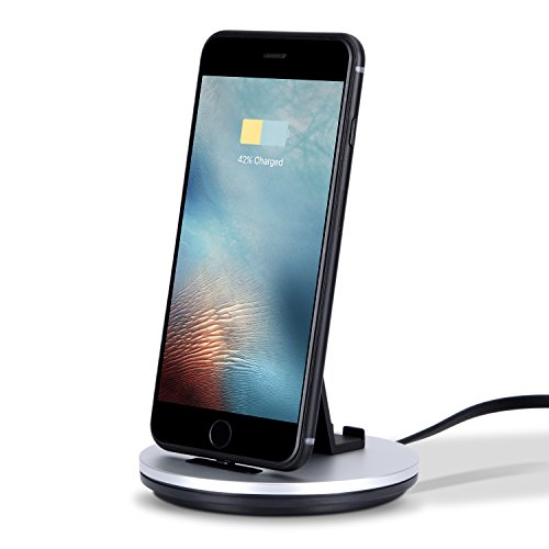 Price comparison product image Outtek 2-in-1 Aluminum USB Charge Dock and Sync Desktop Dock Connector Encased Quick Charging Stand with Cables Compatible for Apple iPhone X/iPhone 8/7 Plus/ 6/ 6s/ 6s Plus iPad