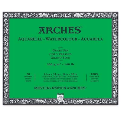 Arches 12-Inch x 16-Inch Acid-Free Cold-Press Watercolor Paper Block by Arches
