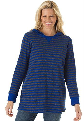 Plus Size Striped Thermal Knit Sweatshirt Hoodie Tee (Dark Sapphire Stripe,M)