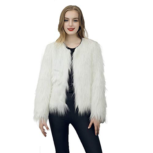 Dikoaina Women's Solid Color Shaggy Faux Fur Coat Jacket White -
