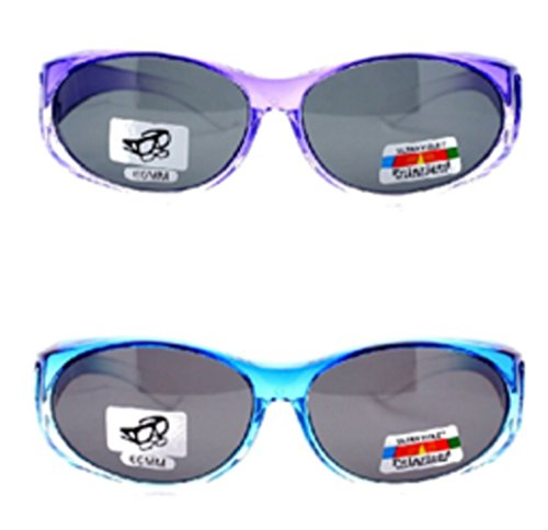 2 Pair of Women's Polarized Fit Over Ombre Oval Sunglasses - Wear Over Prescription Glasses (Purple with Black Lens, Blue with Black Lens) 2 Carrying Cases - Regular Over Glasses Which Sunglasses Fit