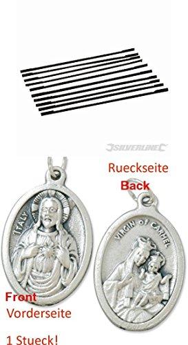Dekupiersägeblätter, 130 mm, 10er Pack, 21 ZpZ, Sägeblätter mit einem Anhänger Herz Jesu 2,5cm