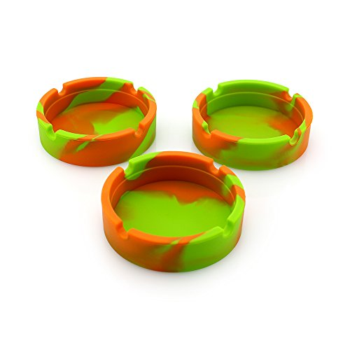 JRPets Creative Soft Silicone Ashtray Eco-Friendly Camouflage Mixed Color Round Hotel Office Company bar KTV, Several of which Also Have Fluorescent Style 3 Packs (Orange Green Camouflage)
