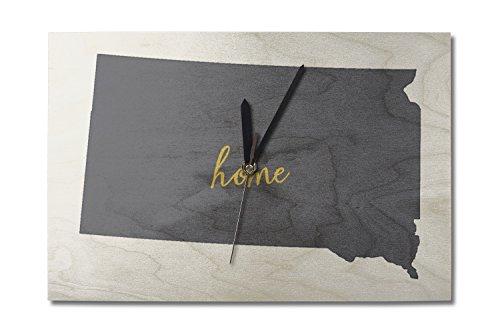 Lantern Press South Dakota - Home State - Gray on White (10x15 Wood Wall Clock, Decor Ready to Hang)
