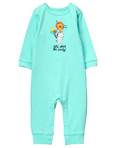Gymboree Baby Boys Party Animal Onepiece, Blue, 0-3 MO (Clothes Gymboree Baby Boy)