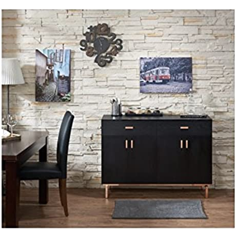 Mason Black Finish Buffet Dining Server Modern Chic And Sleek Aesthetic In Style Made Of Wood Black