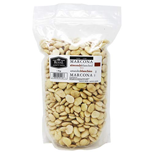 (Royal Command Raw Marcona Almonds Blanched - 1kg (2.2lb) | Imported From Spain, No Added Oil, Fat, or Salt, High In Protein, Healthy Snack & Topping For Salads, Yogurt, Cereal)