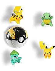 HONGECB Pokemon flippingball, Pikachu Pokeball Set, Pokémon Pokeball, söta accessoarer, används för festgåvor, spel och barnpresenter, innehåller 4 dockor och en flipperboll