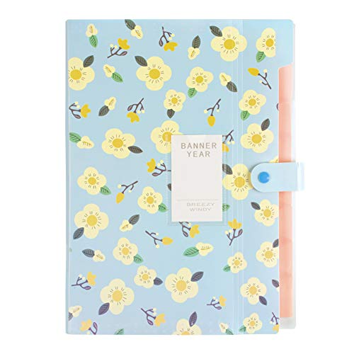 (8 Pockets Expanding Document File Folders A4 File Organizer Flower Style)