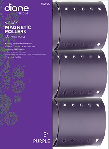 Diane Magnetic Hair Roller, Purple, 3 Inch, Strong material, unbreakable material, curls, perm, holds hair in place, perfect for any hair style, sanitary, washable, 3, Static electricity holds hair in