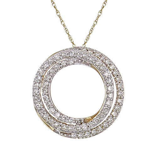 10K Yellow Gold and Diamond Intertwined Circles Pendant Necklace (0.33 cttw, I-J Color, I1-I2 Clarity), 18