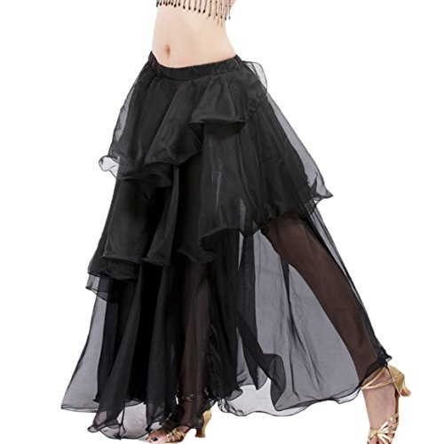 Latin Belly Dance Costume Elastic Waist Belly Dance Hip Scarf Long Performance Practice clothing Wear (Dance Costumes Performance Wear)
