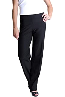 ba400a4069205 Eileen Fisher Washable Stretch Crepe Straight Leg Pant w/Yoke Waistband  Black