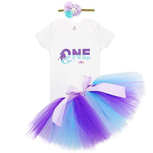 (3PCS Girls Outfit Mermaid Romper Tutu Skirt Headband 1st Birthday Costumes White)