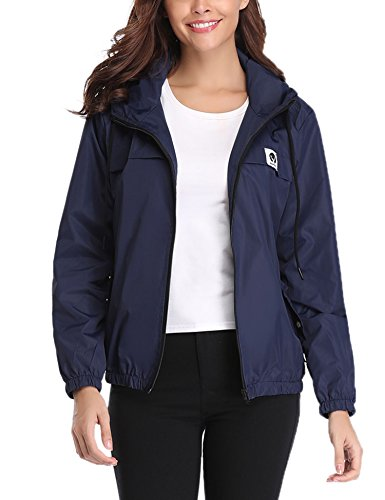 Abollria Raincoats Waterproof Lightweight Rain Jacket Active Outdoor Hooded Women's Trench Coats Navy Blue (Best Waterproof Jacket Brands)