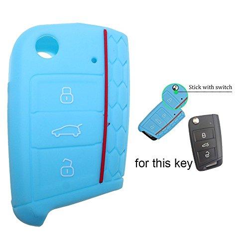 Muchkey Silicone Remote Flip Key FOB Case Cover Fit For VW Golf 7 GTI VII MK7 Skoda Octavia A7 1PC