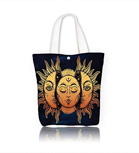 (Canvas Zipper Tote Bag Beautiful Moon and Sun with faces Vintage hand drawn eclipse for coloring book tattoo Ethnic Reusable Canvas Zipper Tote Bag Printed 100% Cotton W14xH15.7xD4.7 INCH)