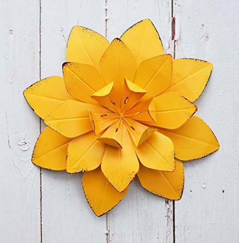 GIFTME 5 Yellow Metal Layered Flower Wall Décor for Bathroom Livingroom Garden Indoor or Outdoor Wall Sculptures(10X2 (Wall Sculpture Home Garden)