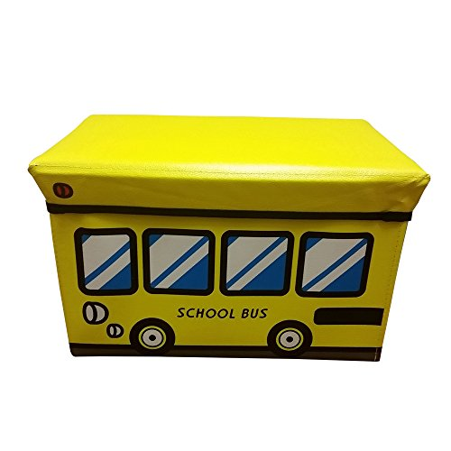 Large Ottoman Storage Bench/Seat, Folding Storage Cube With Cover Yellow School Bus design (YELLOW) (Bus School Pillow)