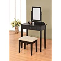 Contemporary Vanity Set with Adjustable Mirror and Stool Black Finish