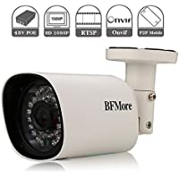 IP POE Camera 1080P RTSP, Outdoor Home Security Camera BFMore, Onvif H.264 Network Night Vision Waterproof, Remote View by APP iPhone Android Windows PC, 12V 48V 3.6mm Lens