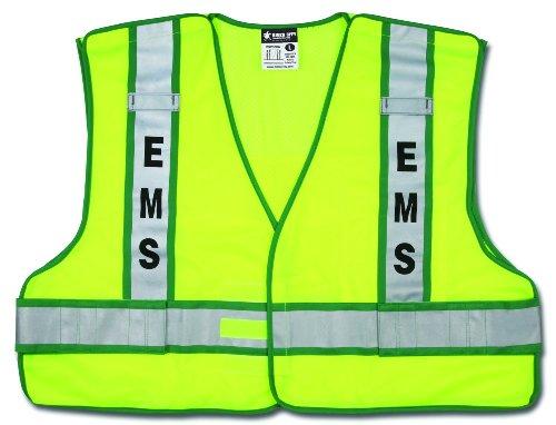 (MCR Safety PSV308A Polyester Mesh EMS Service Safety Vest with 3M Scotchlite 2-Inch Silver/Green Reflective Stripe, Fluorescent Lime)