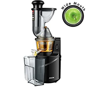 Aicok Juicer, Whole Slow Masticating Juicer, 75MM Wide Mouth Fruit and Vegetable Juice Extractor with Juice Jug and Cleaning Brush