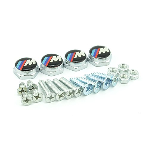 Plate Bolt License Chrome (iNewcow 4PCS Sport M Chrome License Plate Frame Bolt Screws Fasteners for BMW Sport M)