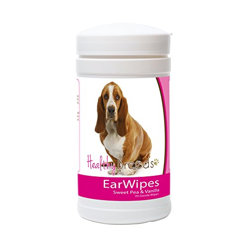 Healthy Breeds Dog Ear Cleansing Wipes for Basset Hound - Over 80 Breeds - Removes Dirt, Wax, Yeast - 70 count - Easier Than Drops, Wash, Solutions - Helps Prevent Infections and Mites