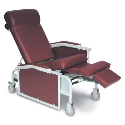 Three Position Drop Arm Convalescent Recliner with Tray Color: Burgundy, Style: TB133 with IV Pole Left Rear