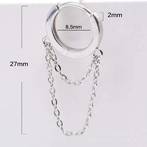 Minimalist Sterling Silver Tassel Chain Drop Dangle Small Hoop Earrings Rhinestone Crawler Earrings Long Ear Stud Climber Earrings for Women