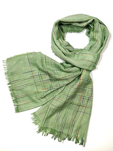 (Shanlin Unisex Cotton-Linen Scarves for Men and Women (Green-Color Threads))