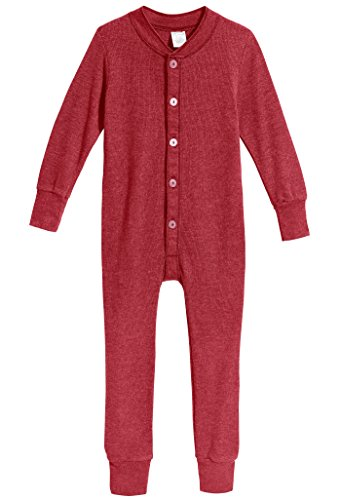 City Threads Little Boys and Girls' Union Suit Thermal Underwear Set Long John Onesie Footie Perfect For Sensitive Skin and Sensory Friendly SPD, Red, (Long John Thermal Pajamas)