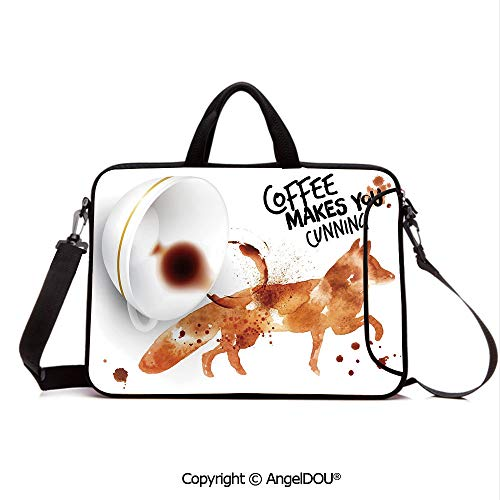 AngelDOU Customized Neoprene Printed Laptop Bag Notebook Handbag Cunning Animal and Human Nature Character Theme Coffee Espresso Decorative Compatible with mac air mi pro/Lenovo/asus/acer Burnt S