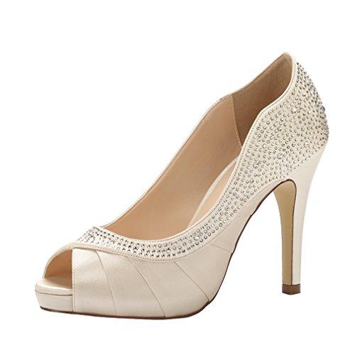 ERIJUNOR E1613 Women Peep Toe High Heels Comfortable Fashion Rhinestones Satin Evening Prom Wedding Sandal Shoes Champagne Size 6