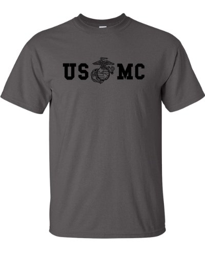 Marine Corps Bull Dog Front and Back Premium Men's T-Shirt (Medium, Charcoal) Marines Mens Tee