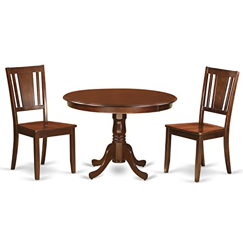 - East West Furniture HLDU3-MAH-W 3Piece Hartland Set with One Round 42in Small Table & 2 Dinette Chairs with Solid Wood Seat in a Attractive Mahogany Finish