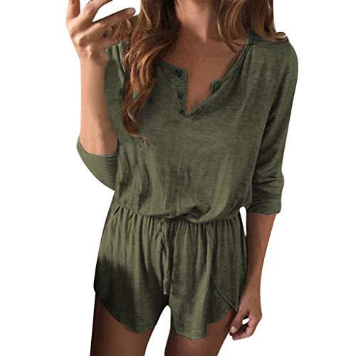Pant Linen Career (Black Friday Hot Sale Letdown Women Casual Solid Bandage V-Neck Button Long Sleeve Short Pants Playsuit Set)